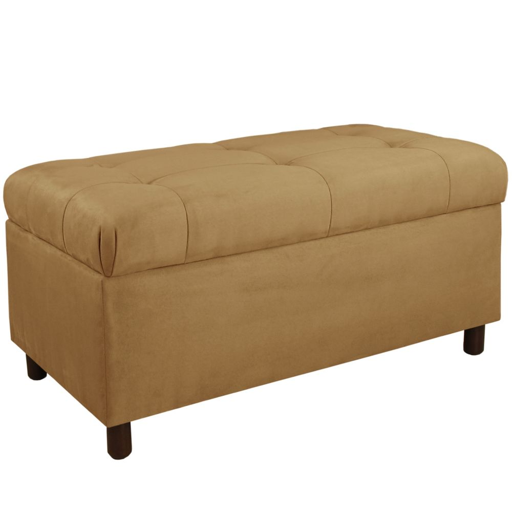 Tufted Storage Bench, Premier Microsuede, Saddle