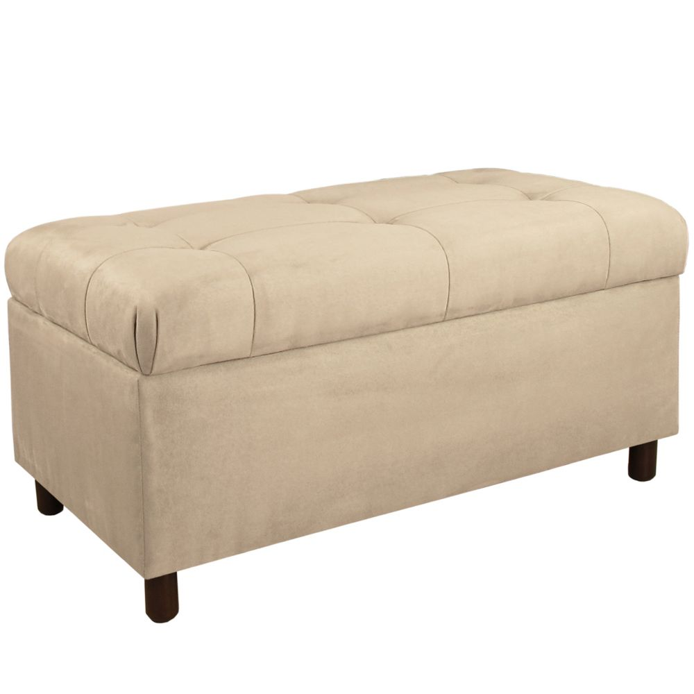 Oatmeal Premier Microsuede Tufted Storage Bench