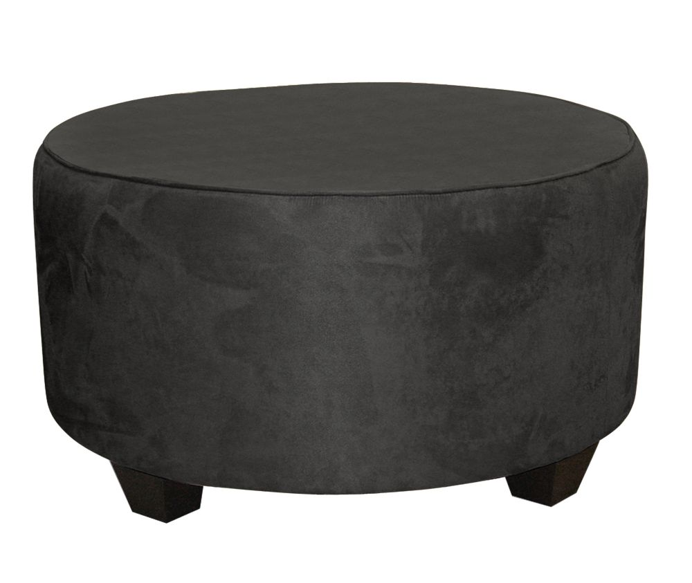 skyline furniture pouf de salon rond polyester microdenier de ton noir home depot canada. Black Bedroom Furniture Sets. Home Design Ideas