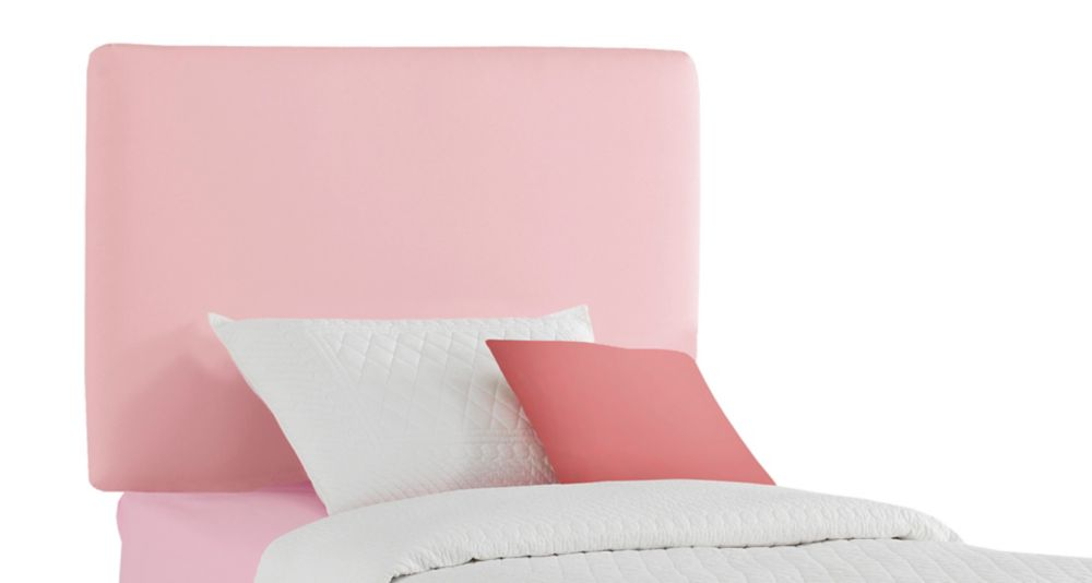 Upholstered Kids Twin Headboard In Duck Light Pink