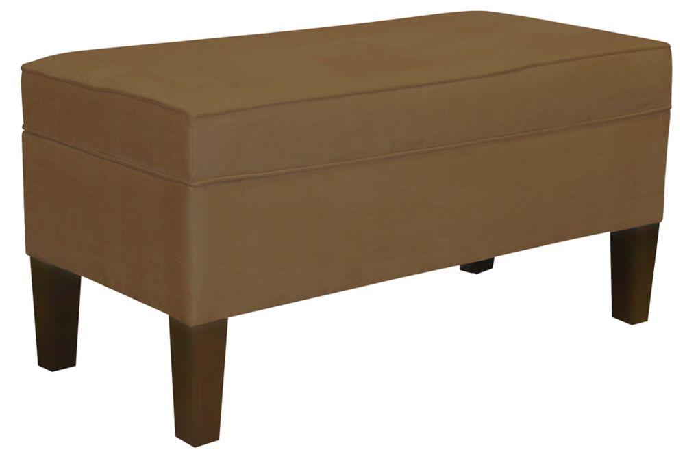 Upholstered Storage Bench In Premier Microsuede Khaki