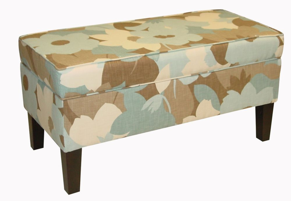 Upholstered Storage Bench In Esprit Seaglass