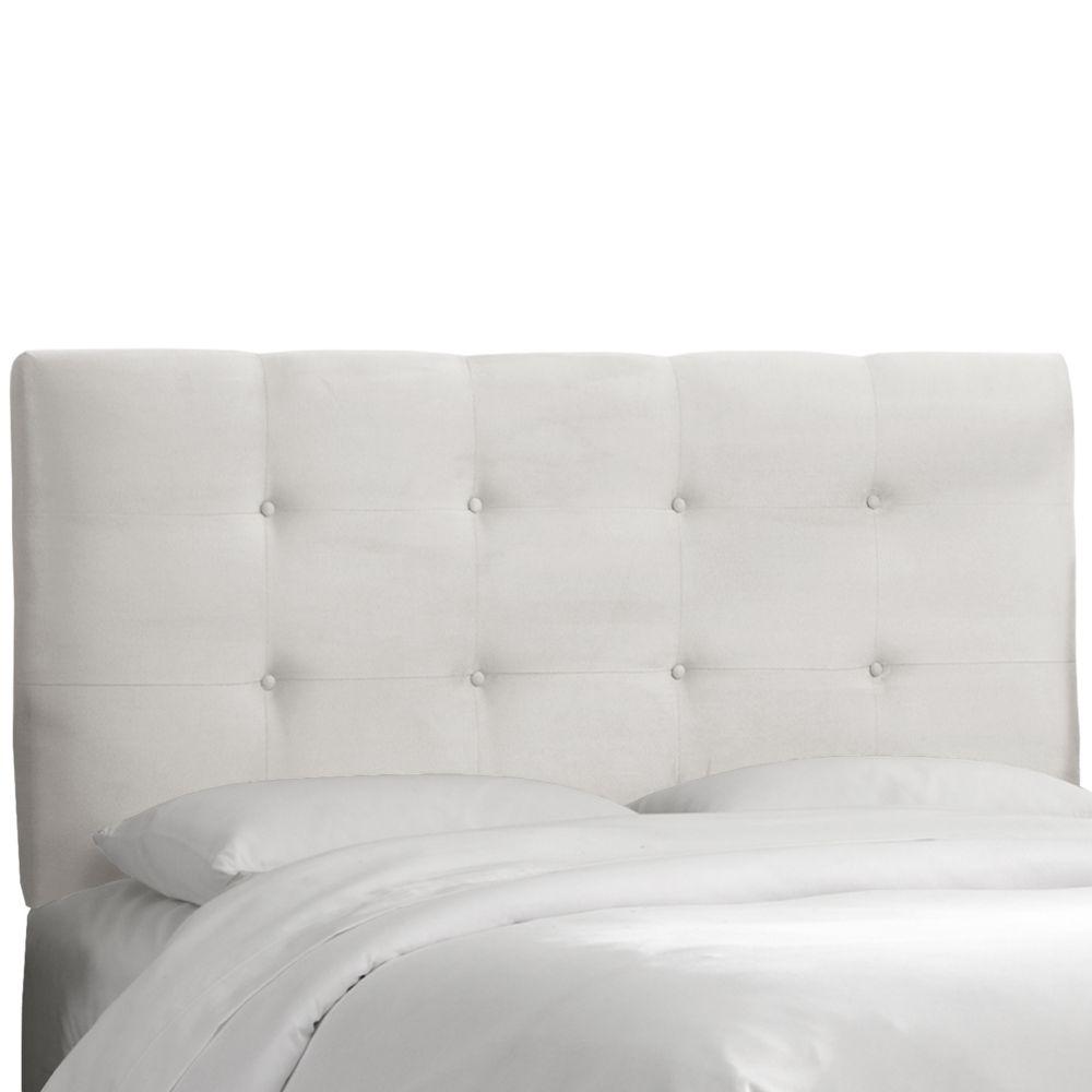 Dossier Capitonné Pour Lit Double Polyester Microdenier De Ton Blanc