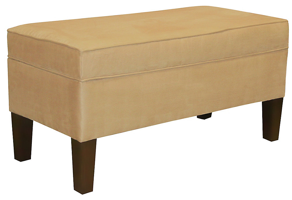 39-inch x 20-inch x 18-inch Manufactured Wood Frame Bench in Beige