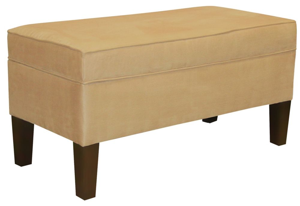 Upholstered Storage Bench In Premier Microsuede Saddle