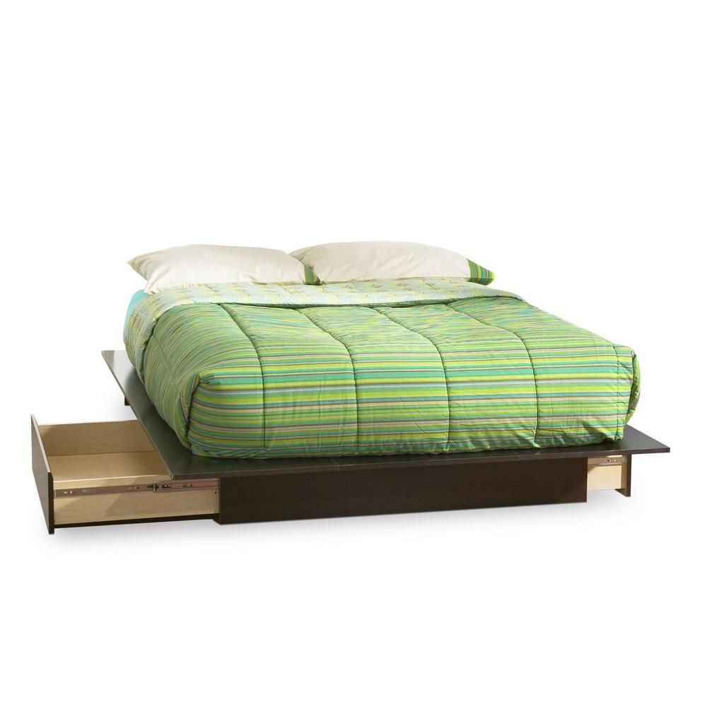 Lux Queen Platform bed with Drawers Chocolate