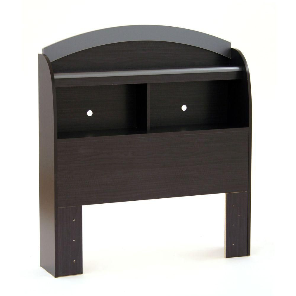 39 '' Bookcase Headboard - Black Onyx & Charcoal