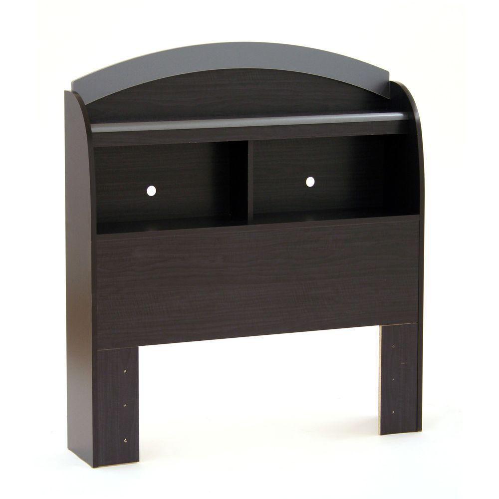 South Shore 39 '' Bookcase Headboard - Black Onyx & Charcoal