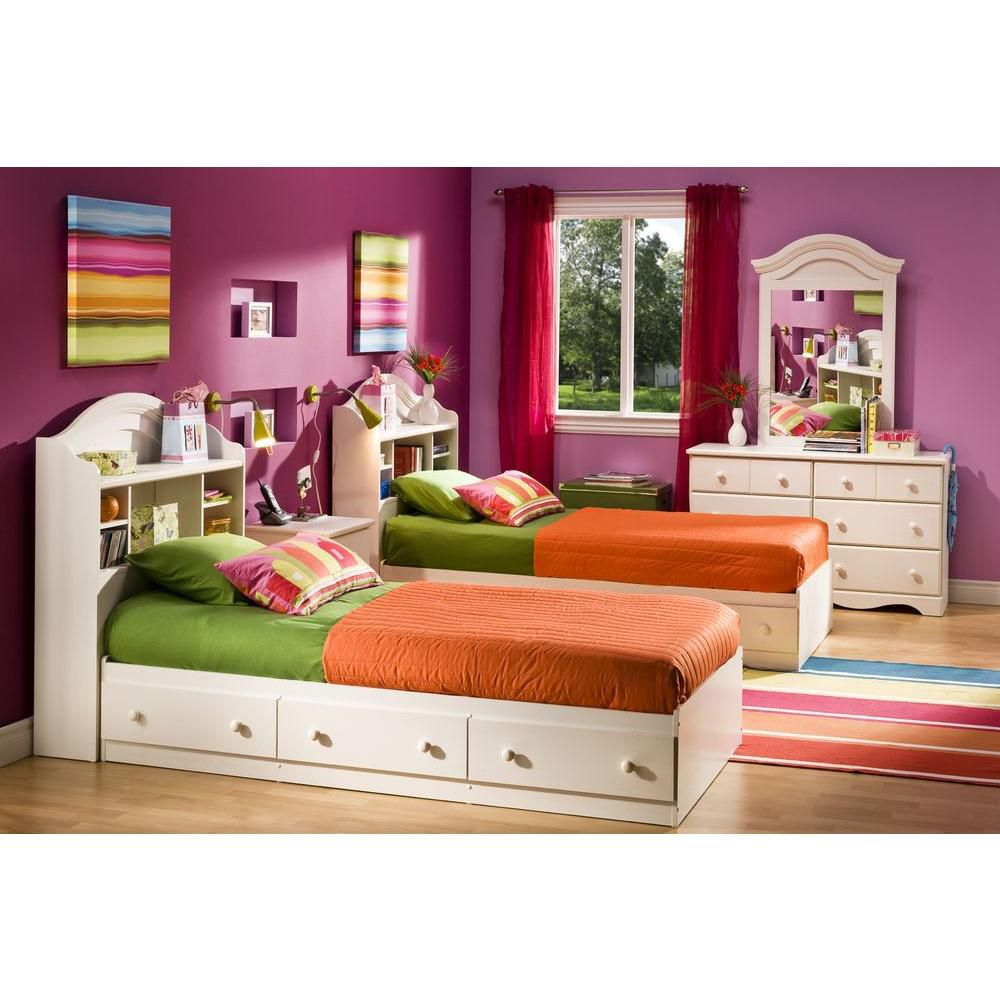 Summer Breeze Twin Mates Bed (39 inch) with 3 Drawers, White Wash