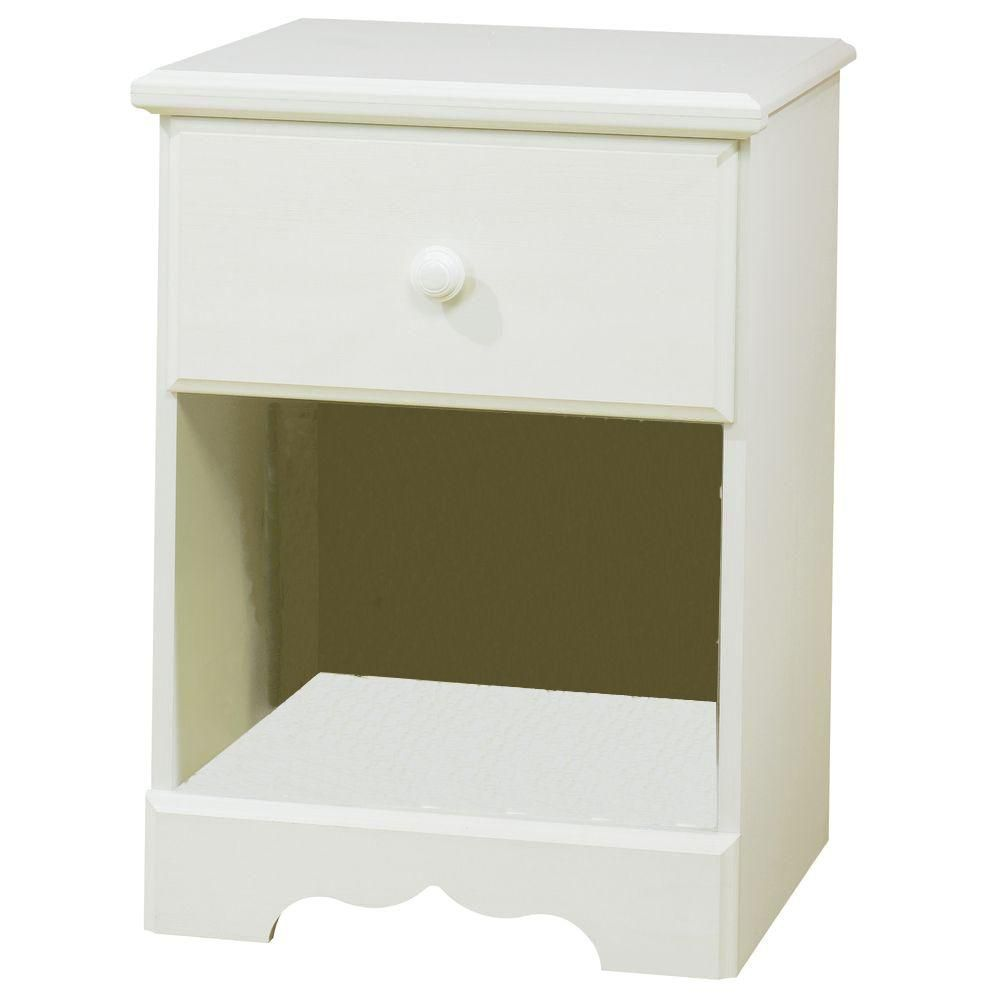 Summer Breeze 1-Drawer Nightstand, White Wash