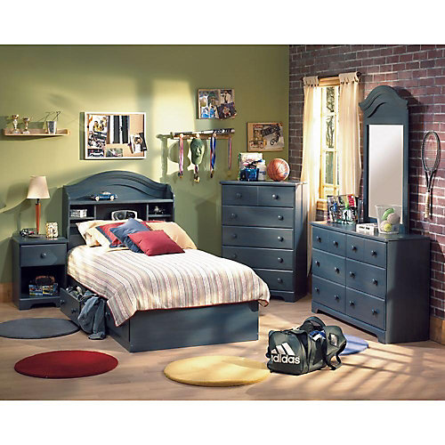 Summer Breeze Twin Mates Bed (39 inch) with 3 Drawers, Blueberry