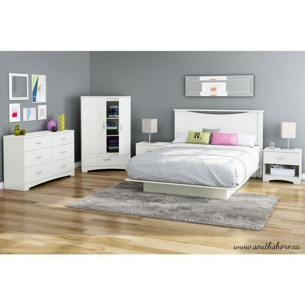 Double Platform Bed with Moulding in White