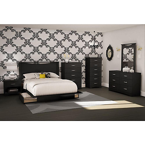 Step One 6-Drawer Double Dresser, Pure Black