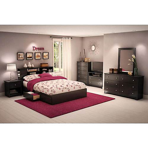 Vito 6-Drawer Double Dresser, Pure Black