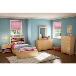 South Shore Popular Twin Mates Bed (39 inch) with 3 Drawers, Natural Maple