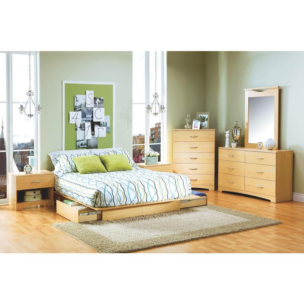South shore storage platform bed urben the home depot canada - Lit 90x190 avec rangement ...