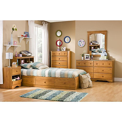 Little Treasures Twin Mates Bed (39 ft.) with 3 Drawers, Country Pine