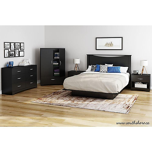 60-inch Platform Bed and Moulding in Black