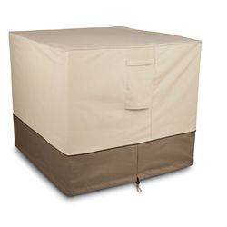 Classic Accessories Square Air Conditioner Cover in Tan & Brown