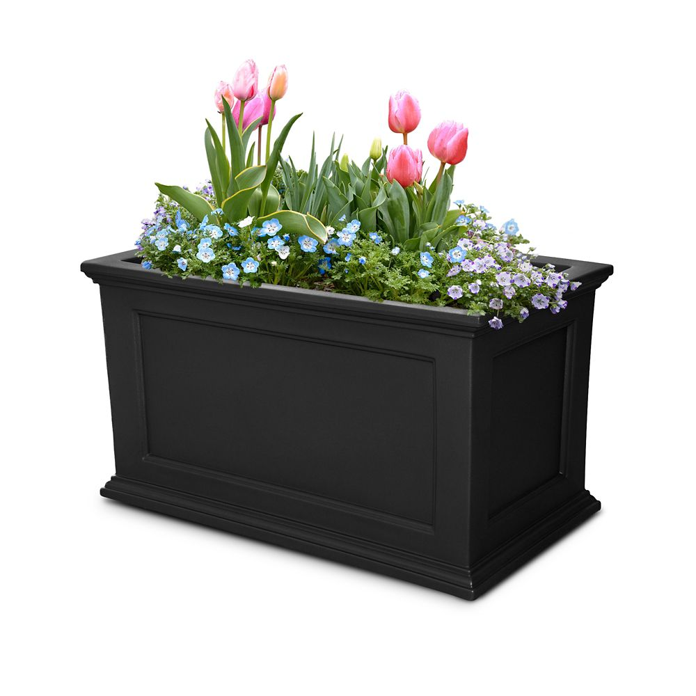 20 In. x 36 In. Fairfield Patio Planter in Black