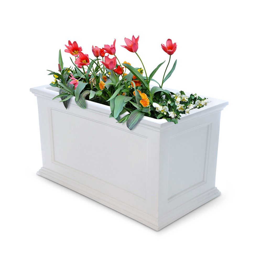 Planteur de patio de Fairfield, 20 po x 36 po (blanc)