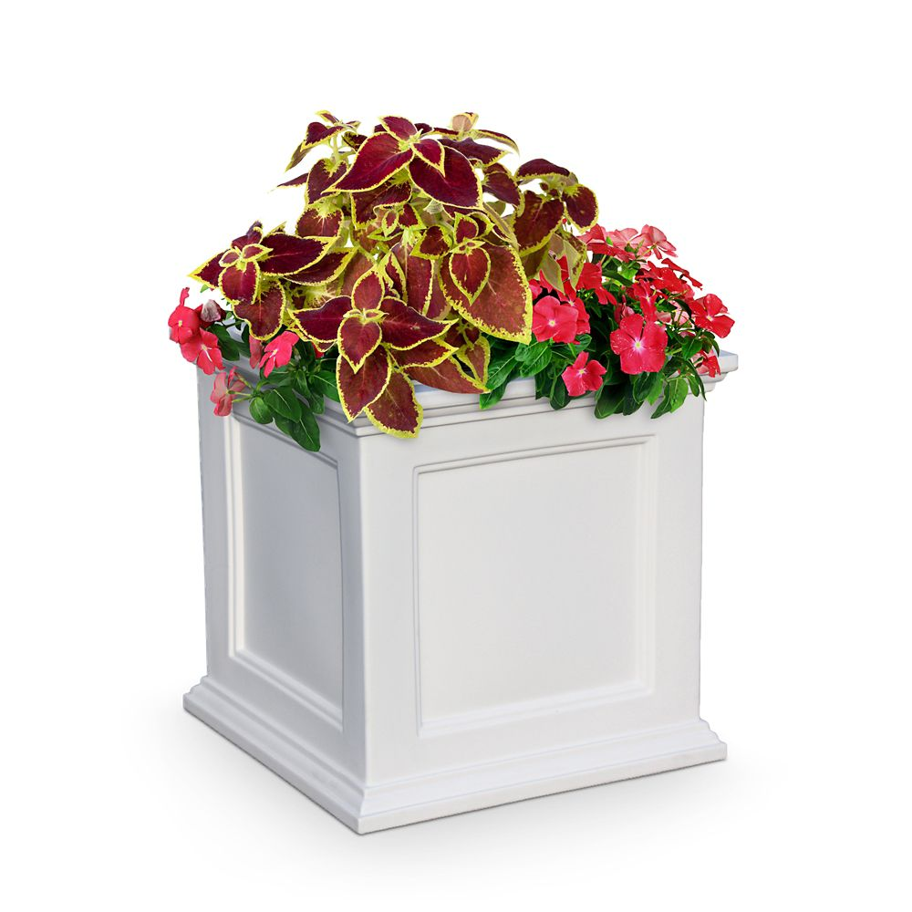 20 In. Square Farifield Patio Planter in White