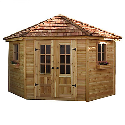 Outdoor Living Today 9 ft x 9 ft Penthouse Garden Shed with Floor – 5 Sided Garden Shed Plans