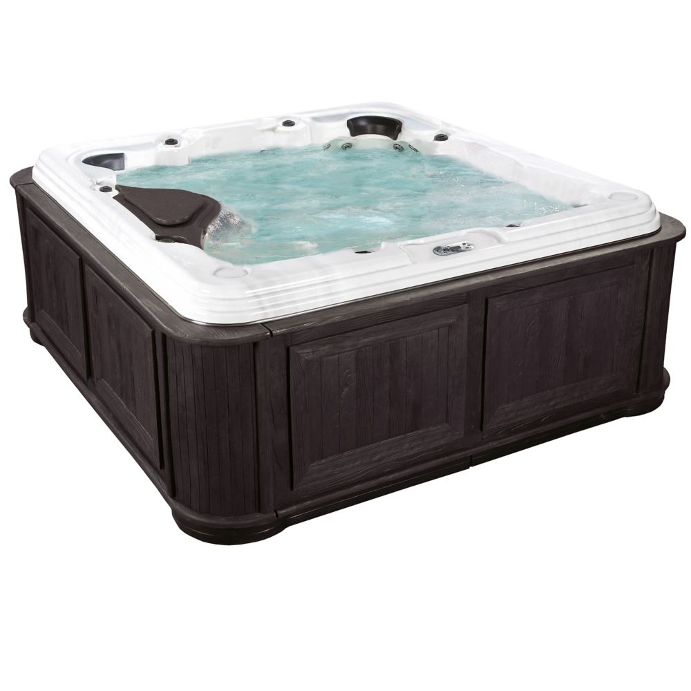 Aqualife Delia 60-Jet Spa Hot Tub with Cabinet in Millstone Shadow Rock