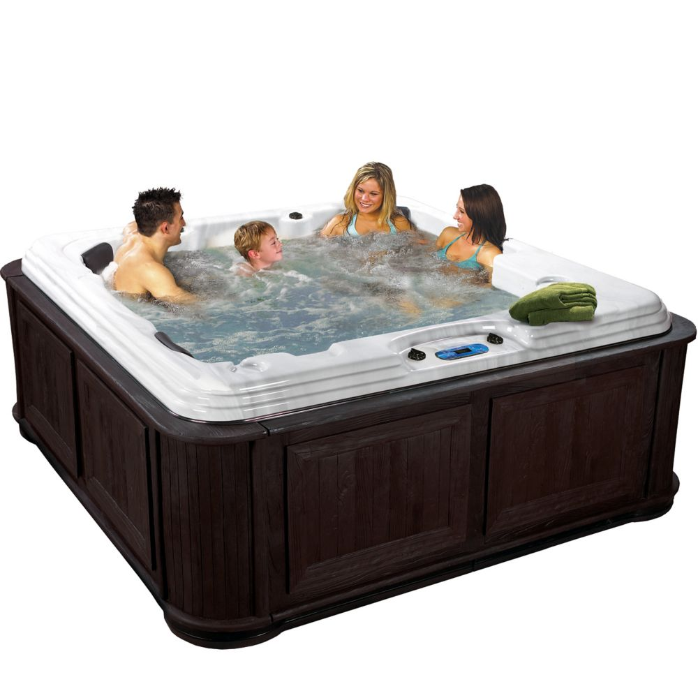 Aqualife Tavira 50-Jet Spa with Cabinet in Espresso CrestWood