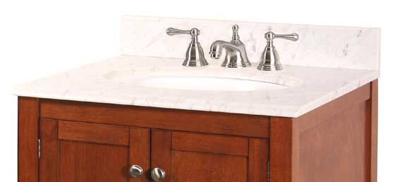 25-Inch W x 22-Inch D Carrara Marble Vanity Top in White