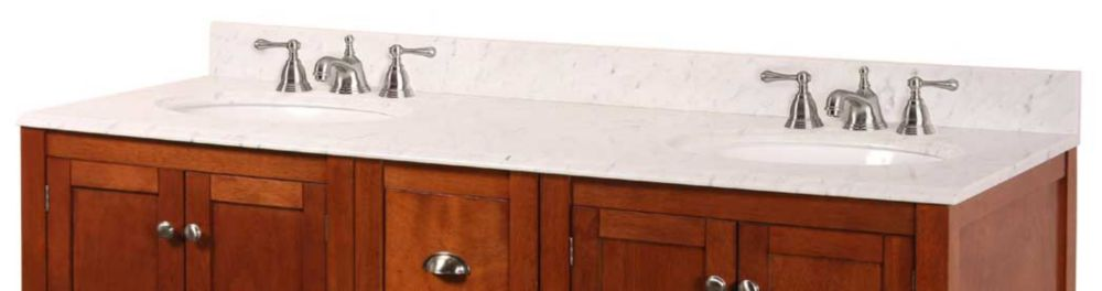 61-Inch W x 22-Inch D Marble Vanity Top in Carrara White