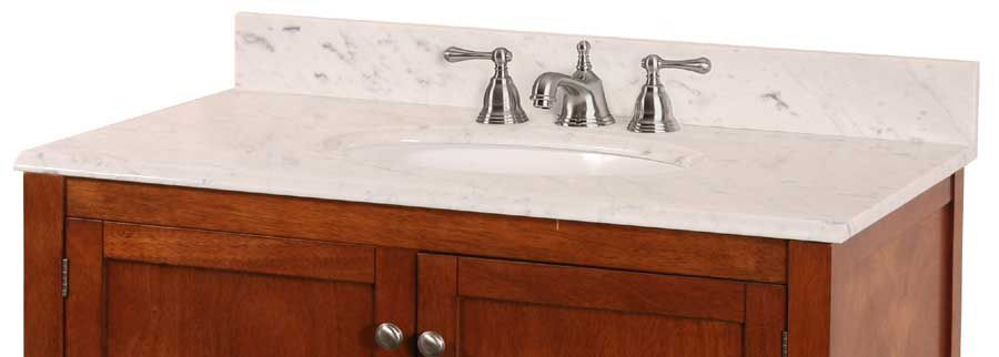 37-Inch W x 22-Inch D Carrara Marble Vanity Top in White