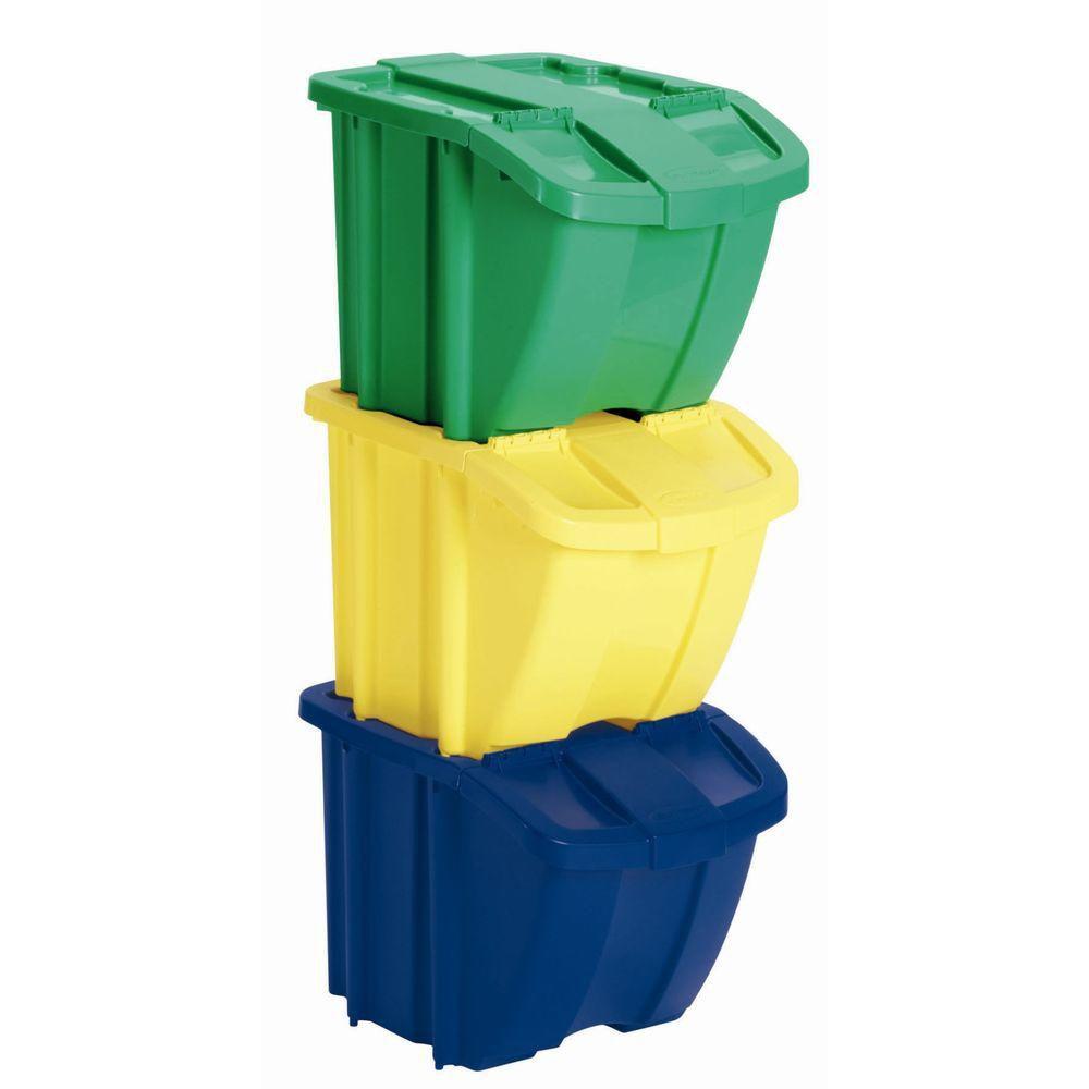 Jeu de 3 bacs de rangement  � jaune, bleu, vert