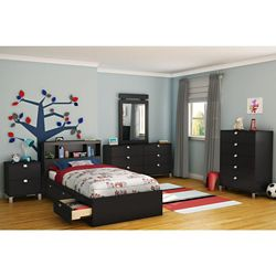 South Shore Spark Twin Mates Bed (39 inch) with 3 Drawers, Pure Black