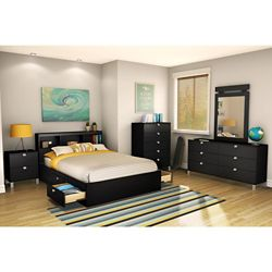 South Shore Full Mate's Bed in Solid Black