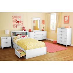 South Shore Spark Twin Mates Bed (39 inch) with 3 Drawers, Pure White