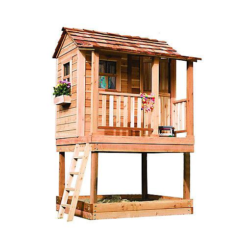 Petite maisonnette en cèdre avec carré sable - (6 Pi. X 6 Pi.)