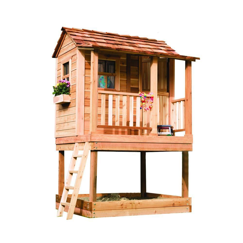 Outdoor Living Today 6 ft. x 6 ft. Little Cedar Playhouse with Sandbox