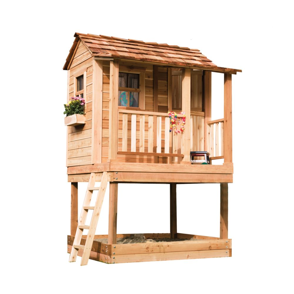 Little Cedar Playhouse with Sandbox (6 Ft. x 6 Ft.)