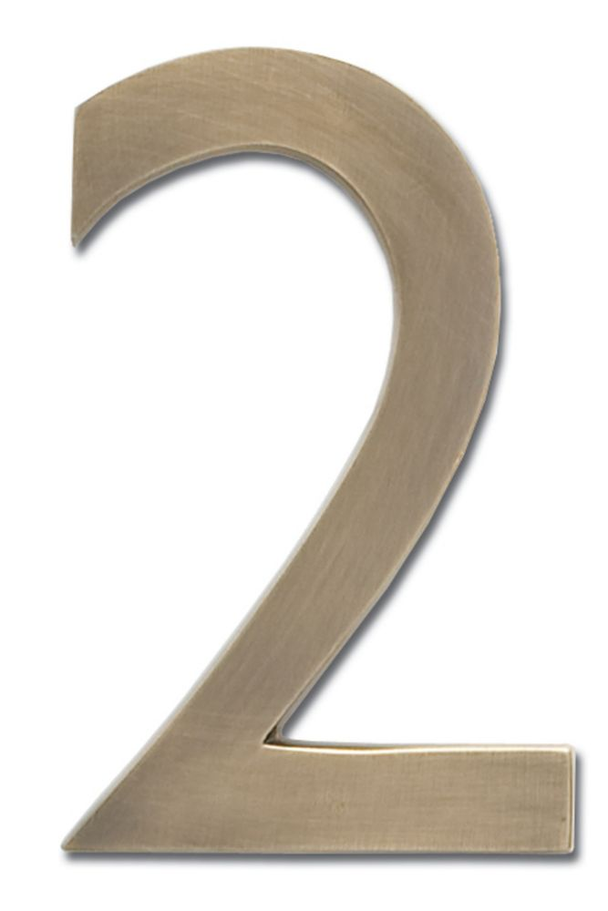 """Solid Cast Brass 4 inch Floating House Number Antique Brass """"2"""""""