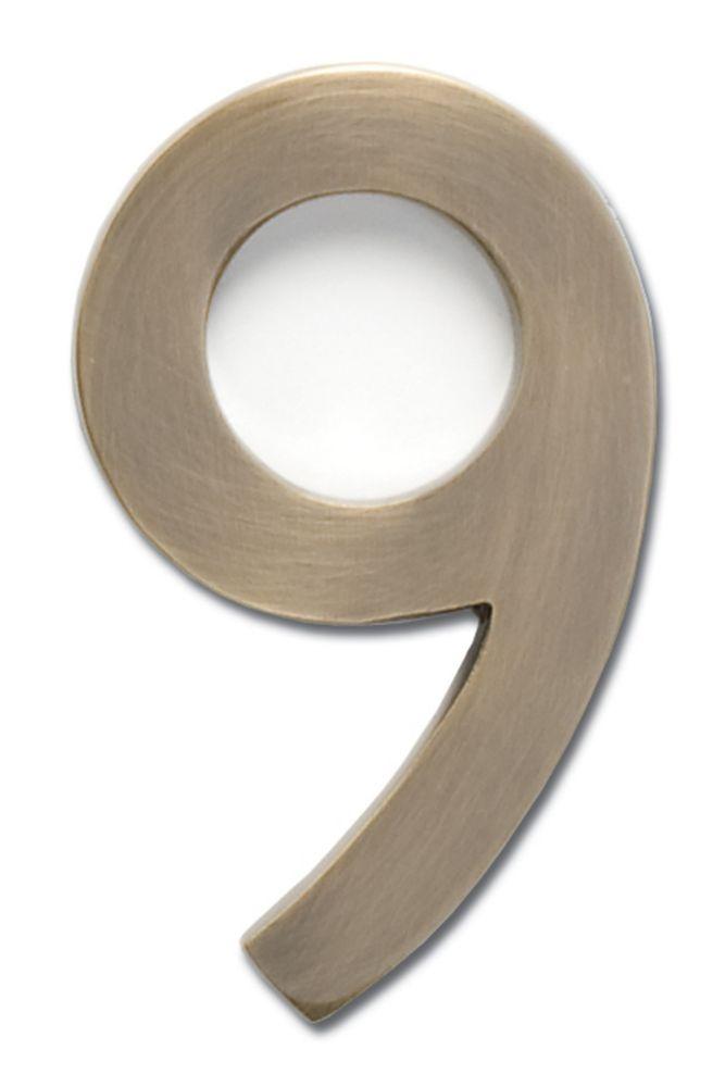 Chiffre flottant de numéro de maison, 4 pouces, en laiton fondu massif à fini laiton patiné, «9...