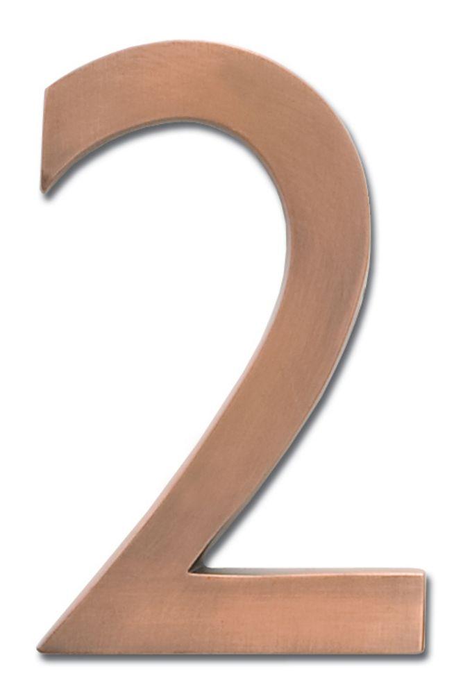 Chiffre flottant de numéro de maison, 4 pouces, en laiton fondu massif à fini cuivre patiné, «2...