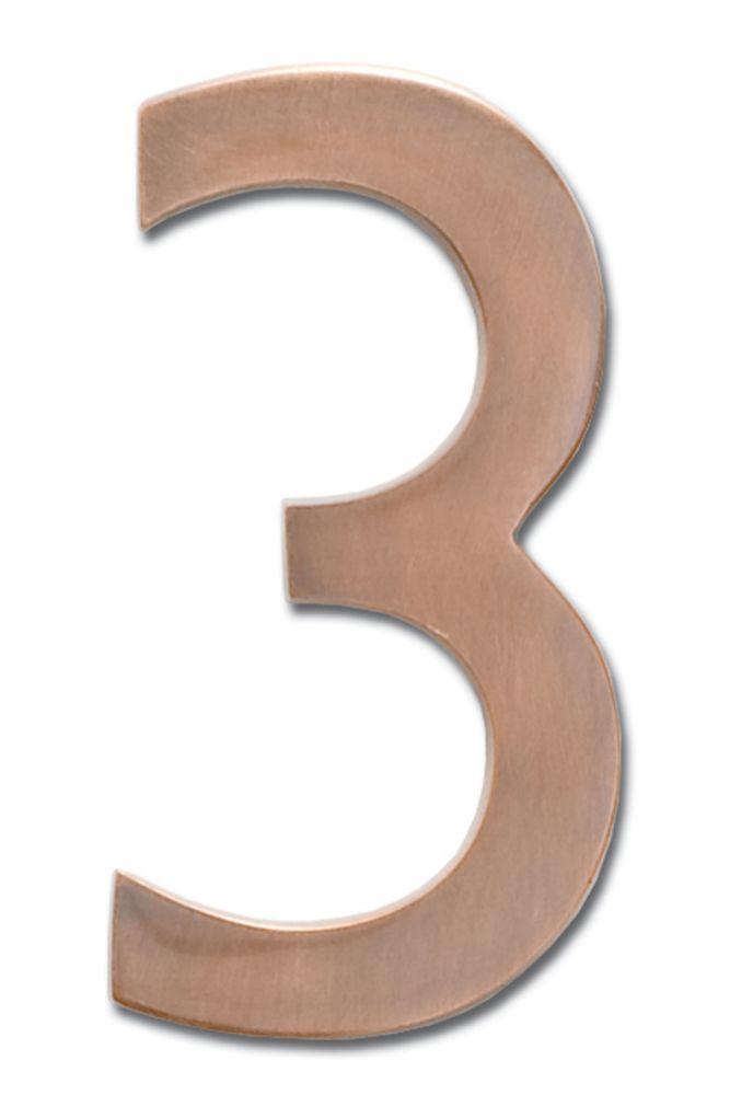 Chiffre flottant de numéro de maison, 4 pouces, en laiton fondu massif à fini cuivre patiné, «3...
