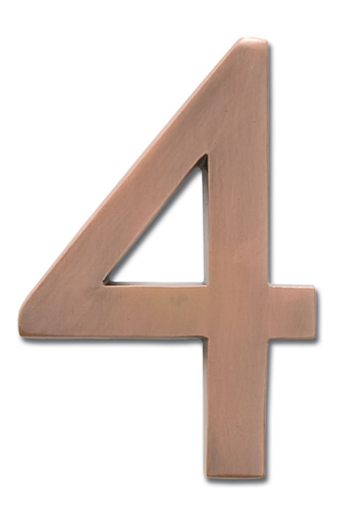 """Solid Cast Brass 4 inch Floating House Number Antique Copper """"4"""""""