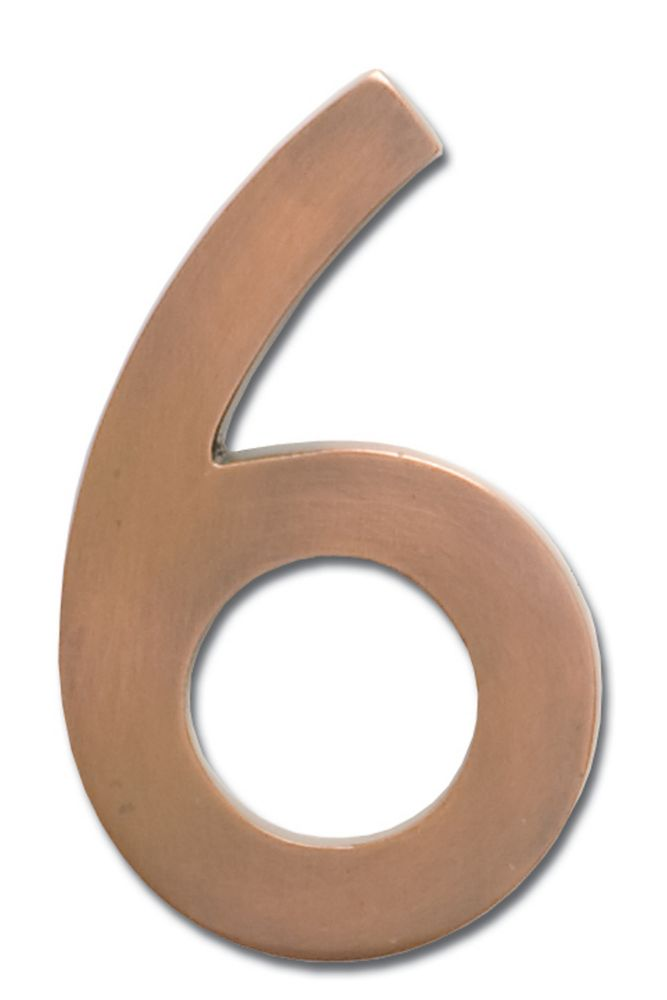 """Solid Cast Brass 4 inch Floating House Number Antique Copper """"6"""""""