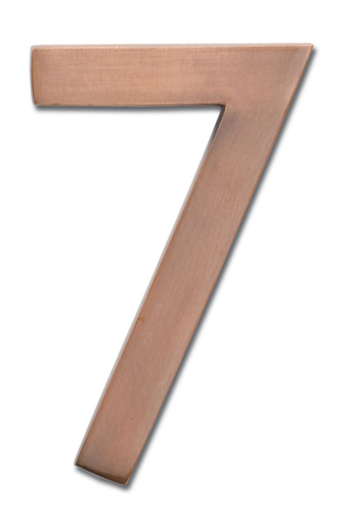 """Solid Cast Brass 4 inch Floating House Number Antique Copper """"7"""""""