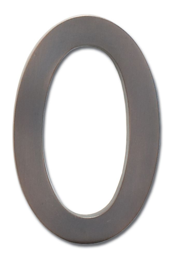 """Solid Cast Brass 4 inch Floating House Number Dark Aged Copper """"0"""""""