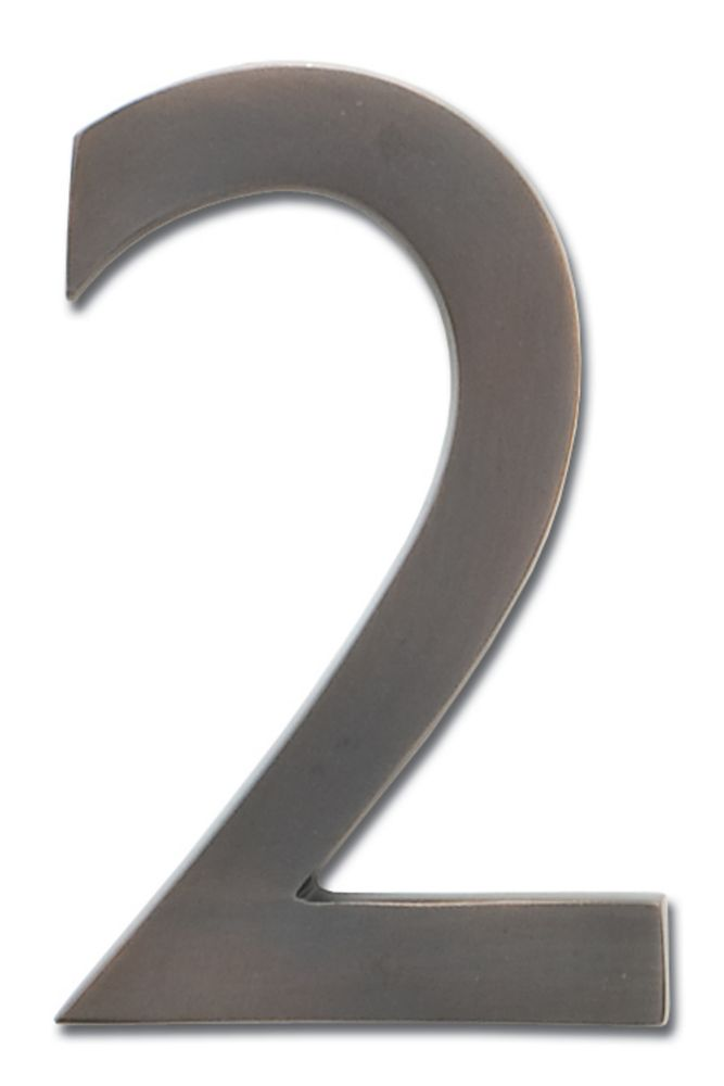 "Solid Cast Brass 4 inch Floating House Number Dark Aged Copper ""2"""