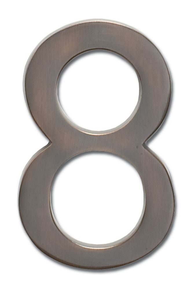 "Solid Cast Brass 4 inch Floating House Number Dark Aged Copper ""8"""