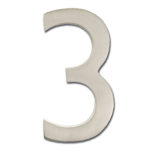 """Solid Cast Brass 4 inch Floating House Number Satin Nickel """"3"""""""